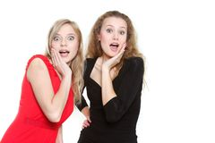 Two surprised girls Royalty Free Stock Images