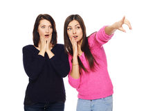 Two surprised girls Stock Images