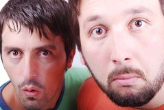 Two surprised man. With interesting excited faces Royalty Free Stock Photos