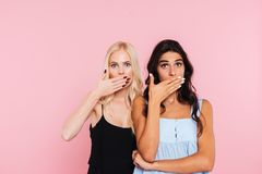Two surprised women covering her mouths and looking at camera Stock Image