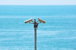Two surveillance cameras Stock Photos