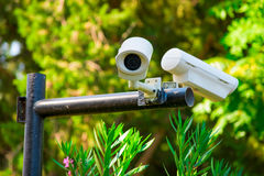 Two surveillance cameras Stock Photography