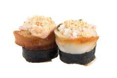Two sushi. Fresh maki rolls, isolated on white Stock Photos
