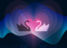 Two swans in love. Romantic illustration Stock Photos