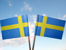Two swedish flags. In the sky Stock Photos
