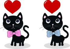 Two sweet black cats royalty free illustration