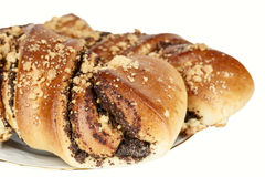 Two sweet brioches with poppy seeds Royalty Free Stock Photo