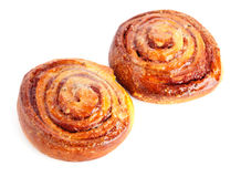 Two sweet buns with cinnamon Royalty Free Stock Images