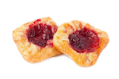 Two sweet buns with jam isolated.  Stock Image