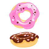 Two sweet cartoon icons donut with sprinkles, frosting and the marshmallow. Royalty Free Stock Image