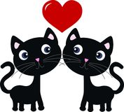 Two sweet cats in love. Illustration of two sweet black cats in love Stock Photography