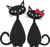 Two sweet cats in love Royalty Free Stock Image