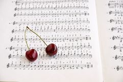 Two sweet cherries and notes book. Royalty Free Stock Images