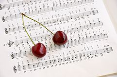 Two sweet cherries and notes book. Stock Photography