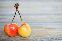 Two sweet cherries Royalty Free Stock Photos