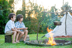 Two sweet children, boy brothers, camping outside summertime on Stock Photography