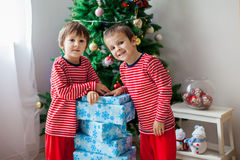Two sweet children, boy brothers, opening presents Royalty Free Stock Photo