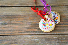 Two sweet Christmas cookies on the boards Royalty Free Stock Image