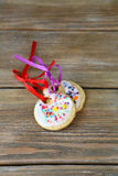 Two sweet cookies on the boards Royalty Free Stock Images
