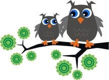 Two sweet grey owls Stock Photos