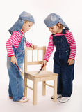 Two sweet little twins painters Royalty Free Stock Image