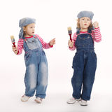 Two sweet little twins painters Royalty Free Stock Images