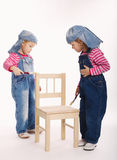 Two sweet little twins painters Royalty Free Stock Photography