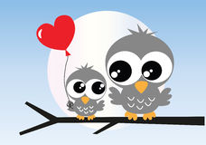Two sweet owls Stock Photography