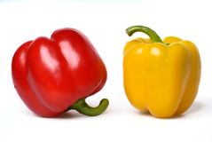 Two sweet peppers Stock Photos