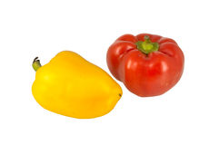 Two sweet peppers isolated on white Stock Photos