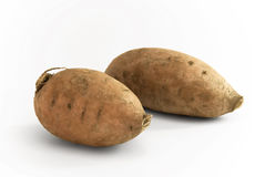 Two Sweet Potatoes. Two Sweetpotatoes lying together on white Background royalty free stock photo