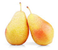 Two sweet red yellow pear fruits Stock Photo