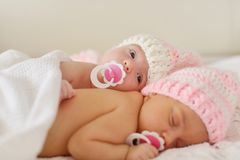 Two sweet twins stock images
