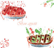 Two sweet watercolor pie Royalty Free Stock Photography