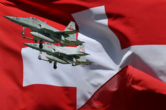 Two swiss fighters and swiss flag Stock Photography