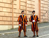 Two Swiss Guards in Vatican City. Rome, Italy, february 11, 2017: Two Swiss Guards dressed in uniforms in the Vatican City stock photo