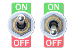 Two switches on and off, 3D rendering Royalty Free Stock Photo