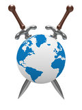 Two sword and globe on white background Royalty Free Stock Photos