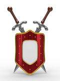 Two sword and shield on white background Royalty Free Stock Photo