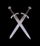 Two swords emblem. Illustration with two medieval swords on black background, both for print and web Stock Photography