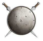 Two swords and metal round shield isolated Royalty Free Stock Photos
