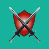 Two swords and shield,protection security red. Stock Image