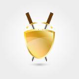 Two swords and shield. For web design and printing stock illustration