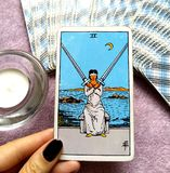 2 Two of Swords Tarot Card Mental Decisions Stressful/Painful Decisions Cross Purposes. 2 Two of Swords Tarot Card is about Mental Decisions Stressful/Painful royalty free illustration