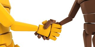 Two symbolic hand make an agreement. 3d symbolic humans make an agreement Stock Photo