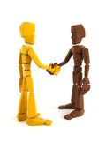 Two symbolic human make an agreement Stock Photography