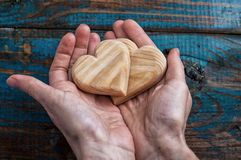 Two symbolic wooden heart Royalty Free Stock Photos