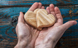 Two symbolic wooden heart Stock Image