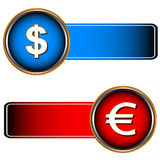 Two symbols of currencies Royalty Free Stock Photography