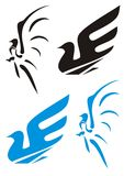 Two symbols of a dove (black and blue). Stylization of a pigeon (two variants Royalty Free Stock Images